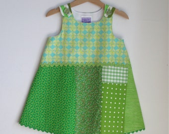 Spring Green Patchwork Toddler Girls Dress  - Size 2T- Children's Fashion Clothing - Girls Clothes - Summer Dress, Sundress, Green Gingham