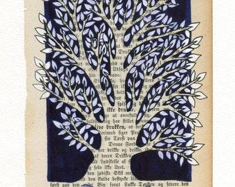 Tree   - Original ink illustration on vintage book page