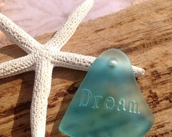 32x31mm sea glass bead-seaglass pendant,drilled dream words-beach glass bead-sea glass supplies-bottle glass-sea bead-sand glass bead,blue