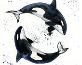 Orca Whales Watercolor Print - Wall Art - Ocean Decor - Whale Art - Whale Watercolor - Sizes 5 x 7, 8 x 10, and 11 x 14