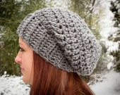 Crochet Pattern for a Chunky Slouch Hat Beanie Women Men Winter Trending Urban Instant Download PDF