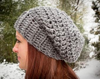 Chunky Crochet Pattern for a Slouch Hat Beanie Women Men Winter Trending Urban Instant Download PDF