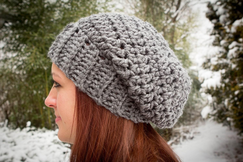 Crochet Pattern for a Chunky Slouch Hat Beanie Women Men