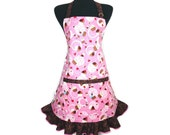 Cherry Cupcake Apron for Women , Pink with Chocolate Sprinkle Ruffle , Retro Kitchen Decor