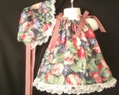 Floral spring pillowcase dress with vintage style bonnet size 18 -24 months