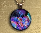 Dichroic Fused Glass Pendant, Fused Glass Jewelry, Fused Glass Pendant, Fused Dichroic Glass Pendant - Garden Of Eden - O153