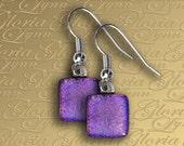 Purple Dichroic Glass Earrings - Fused Glass Earrings - ER471
