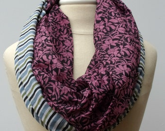 Cotton Infinity Loop ethnic print scarf circle handmade from Indian fabric stripes floral Eternity hippie Boho