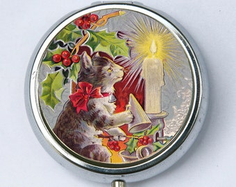 Cat Christmas PILL CASE pilllbox holder candle holly holiday