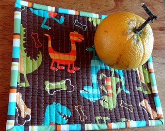 Dinosaur Snack Mats/Mug Rug - Set of 2 - Quilted - Quilts