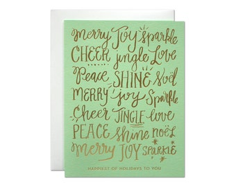 Set of 6 - Happiest Holidays Foil Card