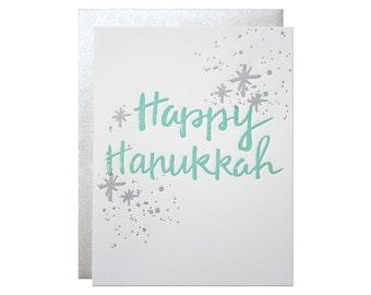 Set of 6 - Happy Hanukkah Letterpress Card