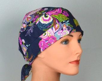 Scrub Hats // Scrub Caps // Scrub Hats for Women // The Hat Cottage // The Mini // Fabric Ties // Zinnia Paisley