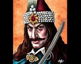 "Print 8x10"" - Vlad the Impaler - Dark Art Horror Dracula Bram Stoker Elizabeth Bathory Blood Sword Medieval War Europe Serial Killer Sword"