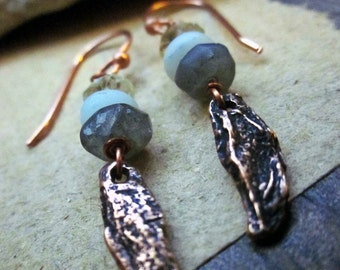 Organic earrings, Cast bronze Semiprecious gemstones Citrine Amazonite Labradorite Copper wire - Cinnamon bark