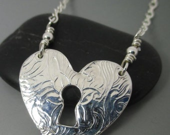 Fine Silver .999 Heart Keyhole Necklace