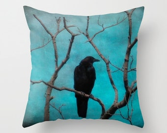 Blue Pillow Case, Nature Art Decor, Crow Pillow Cover, Blackbird Decor,  Raven Art - Aqua Zen Pillow Cover
