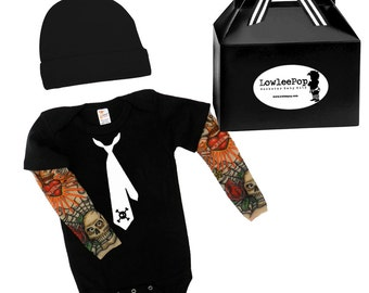 Skull Tie Rock Star Baby Gift Set - black onesie with tattoo sleeves, Hat and gift box