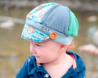 child sized Jax Hat monkeying around made from upcycled fabrics and handmade button - photos by Heatherbee