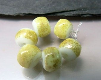 Handmade Lampwork  Beads by GlassBeadArt …   Gold Mist White  Rocks ... SRA F12 ... 10x10mm
