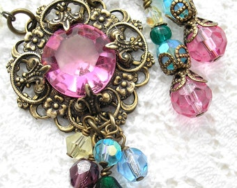 Dreaming in Color - Rose Glass Rainbow Antiqued Brass Necklace Earring Set