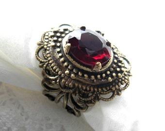 Garnet Glass Jewel Adjustable Vintage Style Antiqued Brass Ring