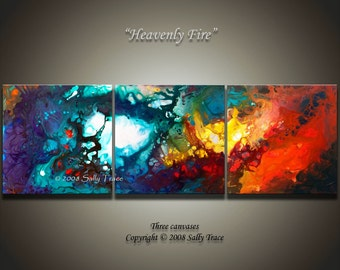 Abstract art, 24x72 inch, three 24x24 inch canvas giclee prints from my original painting Heavenly Fire, extra large wall art