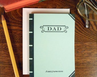 letterpress dad book cover greeting card bold & heroic classic pastel green thanks dad father's day birthday book lover