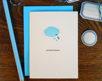 letterpress you're in my thoughts greeting card thought bubble sympathy card
