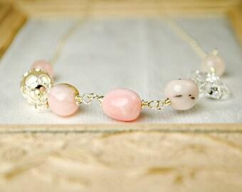 Pink Opal Fashion Necklace, Rose Quartz, Swarovski Crystals, Victorian Beadcaps, Gemstone Necklace, Sterling Silver, Layering Necklace