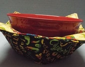 Microwave Bowl Cozy or Potholder Chilies Fabric