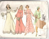 Vogue Pattern 2981 Vintage 1970's  Misses Bridal Dress,  Three Lengths,  Size 12,  complete with instructions