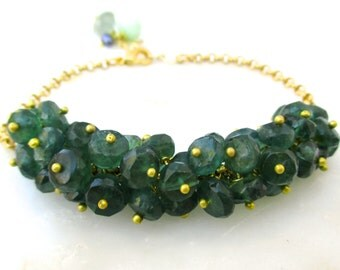Finest Green Apatite Pinned Cluster Bracelet in Gold..