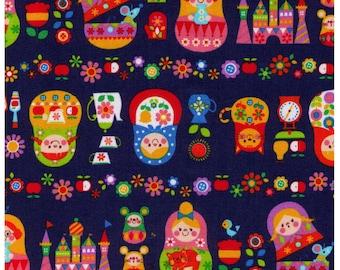 Sale (30) HALF YARD Cosmo Textile - Russian Nesting Dolls on Blue - Matroyshka Doll, Castle, Mice, Mitten, Teacup - Oxford - Japanese Import