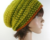 Devon Slouch in Pea Green with Olive Green Stripe