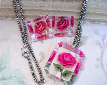 Vintgage Rose 50s Lucite Flower Pendant & Earring Set - Reverse Carved Demi-Parure