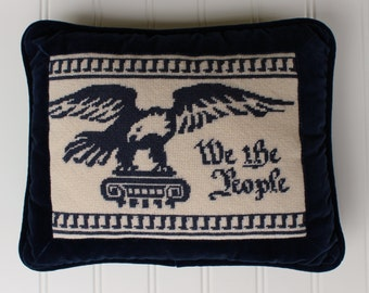 We the People Needlepoint Pillow with Eagle - Navy Blue Bird