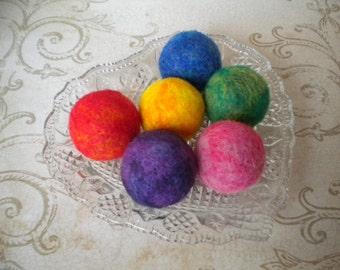 Needle Felted Wool Fidget  Balls, Set of 6, Handmade, Decor,