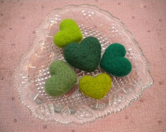 St. Patricks Day/ Irish, Handful of Needle Felted Wool Hearts,Set of 5, Green, Handmade