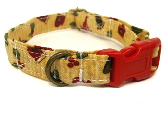 Santa's Whimsy - Organic Cotton CAT Collar Breakaway Safety Christmas Festive - - All Antique Brass Hardware