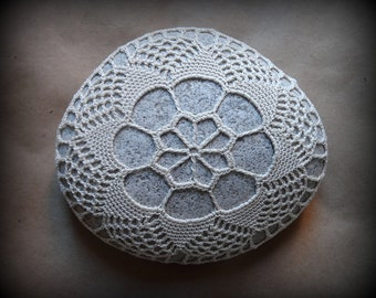 Crochet Lace Stone, Table Decorations, Wedding, Home Decor, Collectibles, Large, Light Beige, Handmade