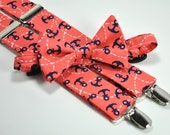 Coral and Navy Anchors Boy's Bow Tie and Suspender Set - Nautical Tie and Suspenders - Toddler Suspenders