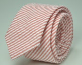 Coral Seersucker Men's Skinny Necktie