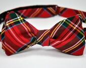 Mens Bowtie, Freestyle Men's Bow Tie,  Red Tartan Plaid Bow Tie, Royal Stewart Tartan Tie