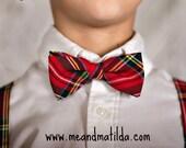Men's Bow Tie and Suspenders, Christmas Necktie, Plaid Necktie, Red Houndstooth,
