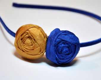 Royal Blue and Gold Silk Rolled Rosette Headband