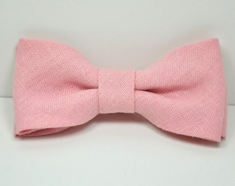 Boy's Bow tie, Pink Linen Bow tie, Pink Bow Tie, Ring Bearer Bow Tie