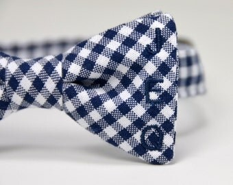 Monogrammed Boy's Bow Tie, Personalized Tie, Navy Gingham Bow Tie