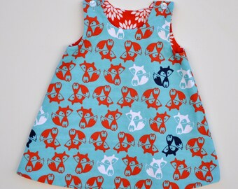 Girls Fox Dress, Aqua Blue and Orange Dress, Flannel Jumper, Reversible Girl's Dress, Winter Dress, All Sizes