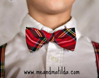 Men's Bow Tie and Suspenders, Christmas Necktie, Plaid Necktie, Red Houndstooth,